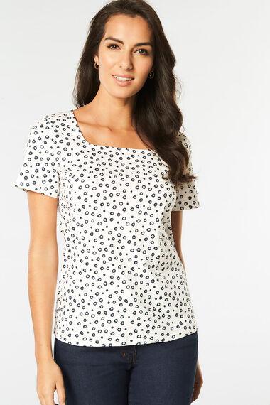 Square Neck Spot Print T-Shirt