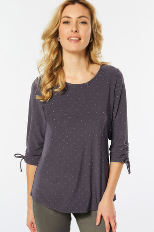 Dewdrop Detail Ruched Top