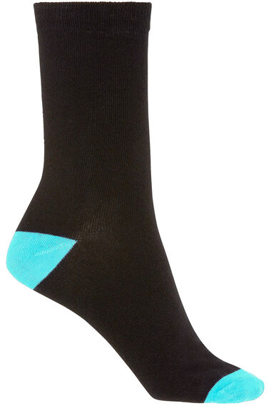 5 Pack Contrast Heel And Toe Socks