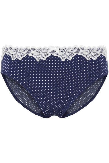 Spot Print Lace Detail Brief
