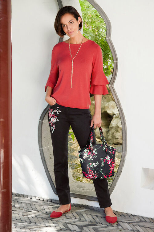 Oriental Floral Embroidered Jeans