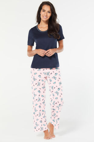 Butterfly Print Wide Leg Pyjama Set