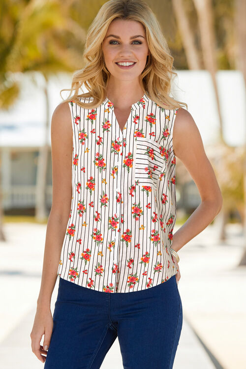 Sleeveless Floral And Stripe Shirt