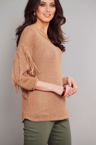 Join Us Fringe Sleeve Jumper