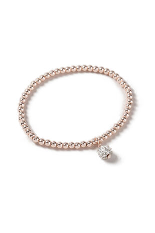 Muse Beaded Rose Gold Pave Ball Stretch Bracelet
