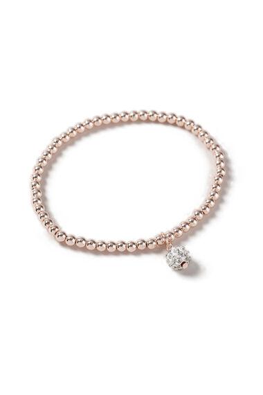 Muse Beaded Rose Gold Pave Ball Stretch Bracelet