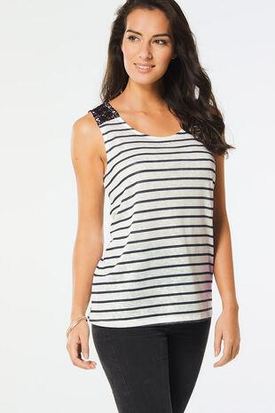 Stripe Vest with Lace Detail