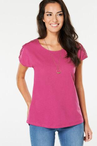 Lace Shoulder T-Shirt