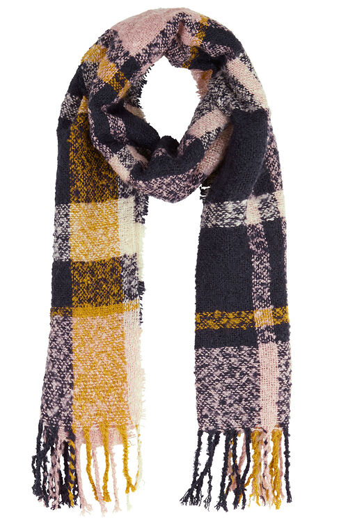 Navy and Ochre Checked Textured Scarf