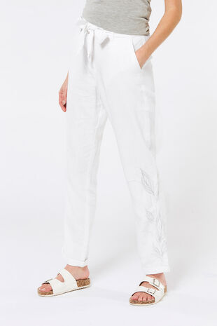Embroidered Chambray Linen Blend Trouser