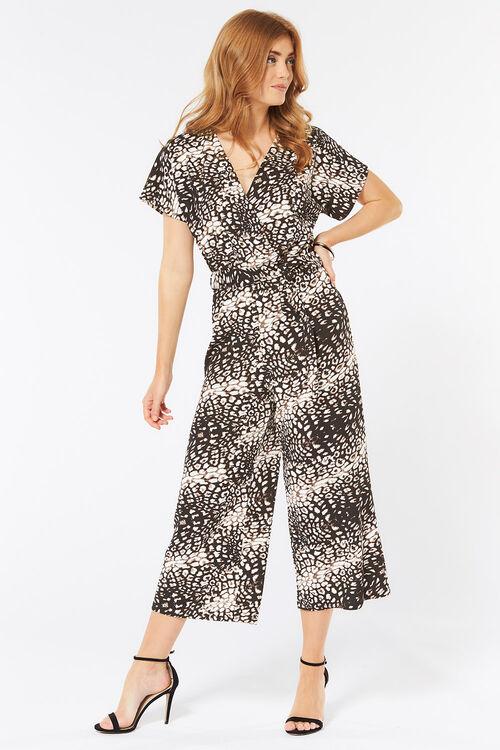Animal Print Culotte Jumpsuit