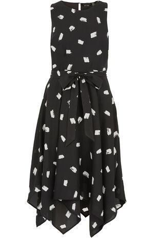 Sleeveless Brushstroke Print Hanky Hem Dress