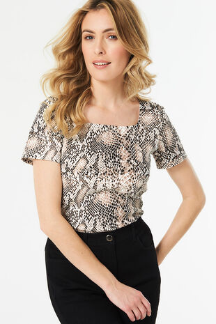 Snake Print Square Neck T-Shirt