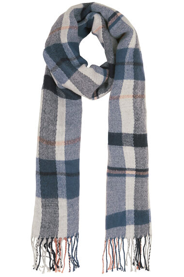 Blue and Ivory Brushed Check Scarf