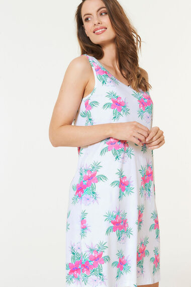 Sleeveless Tropical Floral Print Nightshirt