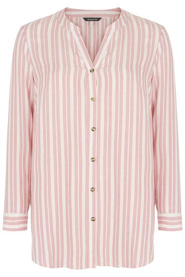 Pink Stripe Collarless Shirt