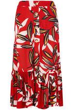 Leaf Print Crinkle Skirt