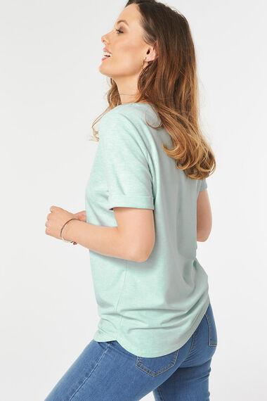 Crew Neck Curve Hem T-Shirt
