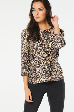 Animal Print Scoop Gather Top