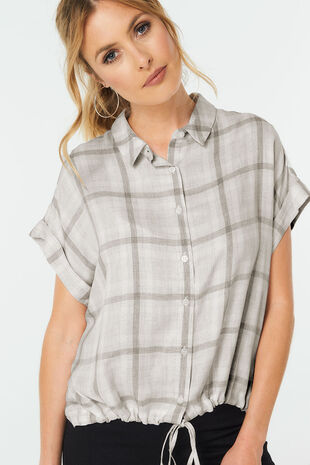 Drawstring Tie Check Shirt