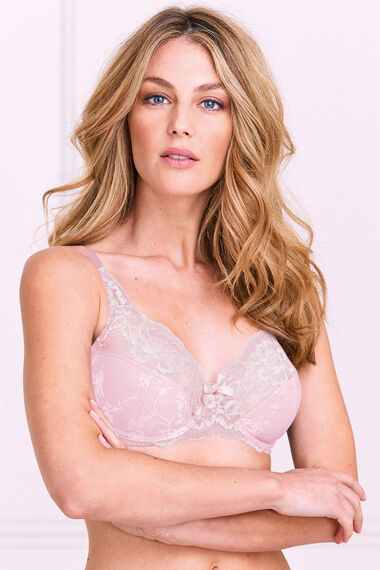 Jaquard Lace Trim Underwired Bra