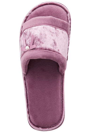 Velvet Open Toe Mule Slipper