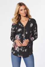 Stella Morgan Rose Print Top with Zip