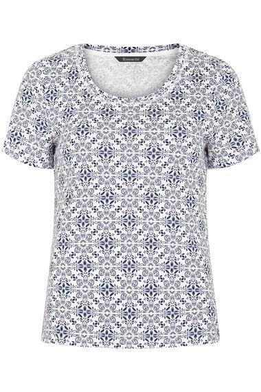Scoop Neck Tile Print T-Shirt