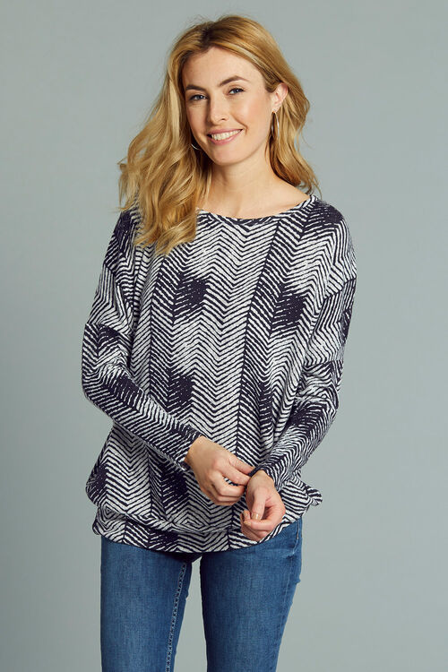 Stella Morgan Herringbone Print Soft Touch Sweater