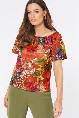 Tropical Print Gypsy Top