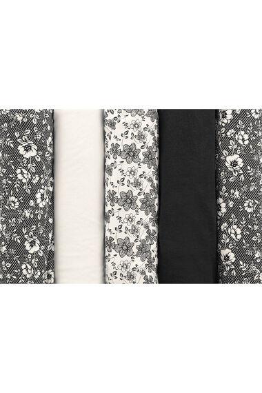 5 Pack Monochrome Floral Print Briefs