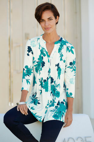 Double Floral Print Pintuck Detail Jersey Top