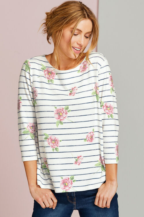 Stripe and Floral Soft Touch Sweat