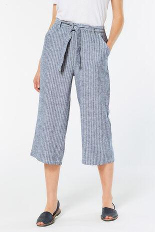 Stripe Belted Linen Blend Crop