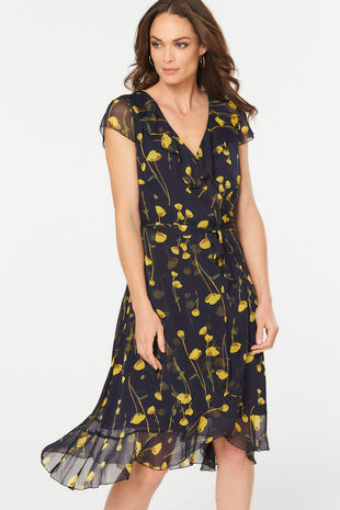 Frill Front Floral Dress