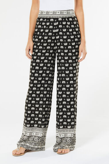 Izabel Elephant Print Wide Leg Trousers
