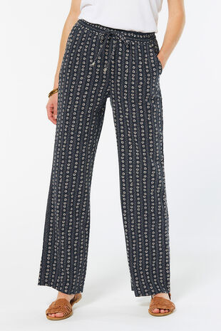 Printed Wide Leg Linen Blend Trouser