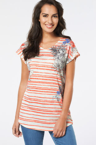 Stripe Floral Snit Top
