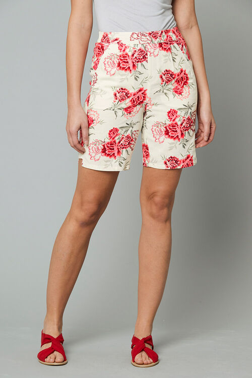 Floral Linen Blend Shorts