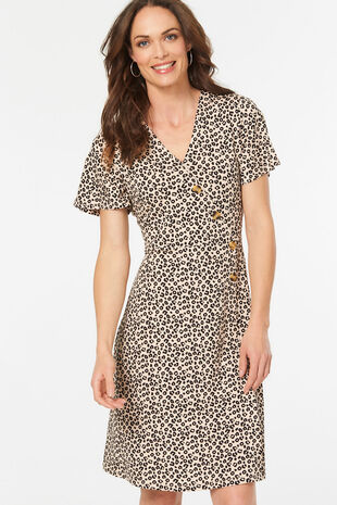 Printed Button Dress