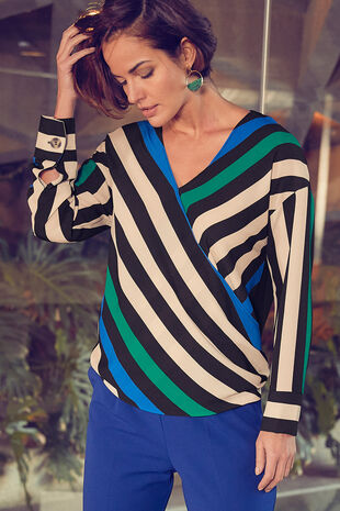 Stripe Mock Wrap Blouse