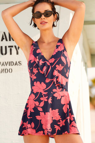 Floral Frill Wrap Skirt Swimdress