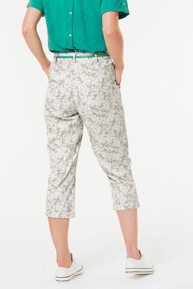 Leaf Print Brushed Cotton Crop Trouser