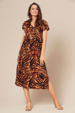 Grace By Eda Cap Sleeve Animal Print Dress