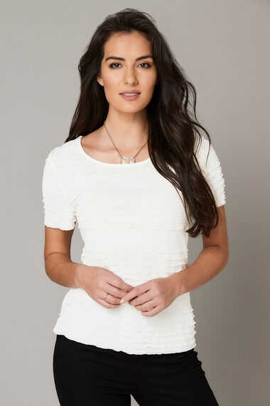 Ruffle Detail Front Jersey Back Top