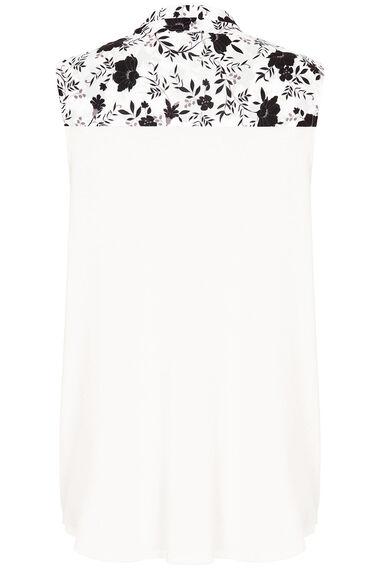 Sleeveless Floral Print Zip Detail Top