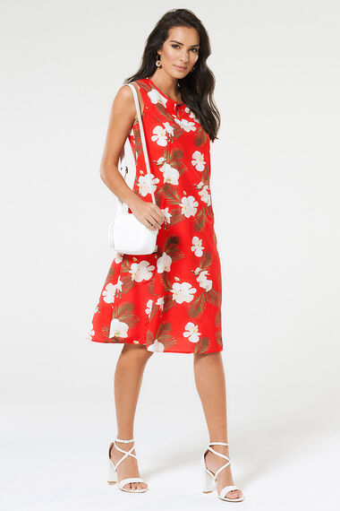 Orchid Print Swing Dress