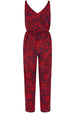 Palm Print Sleeveless Jumpsuit