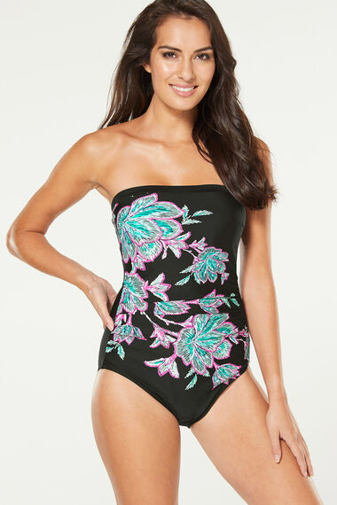 Floral Placement Bandeau Swimsuit