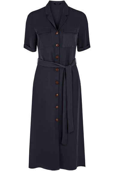 Short Sleeve Twill Shirt Dress